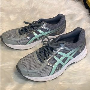 ASICS ortholite gray and white sneakers